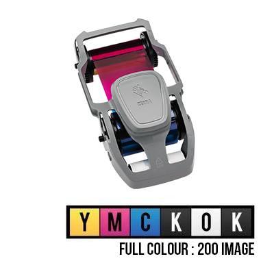 Zebra ZC300 Card Printer Ribbon Cartridge - Full Colour YMCKOK - 200 Prints