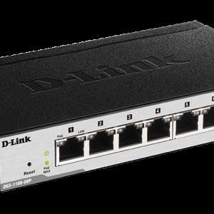 D-Link 8 port 10/100/1000Mbps PoE Easy Smart green switch, 64W power budget, EU/UK power plug