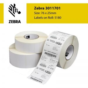 Zebra 3011701 - 76 x 25mm Gloss Polyethylene Label